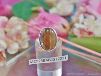 Bague Agate forme cabochon en argent 925°