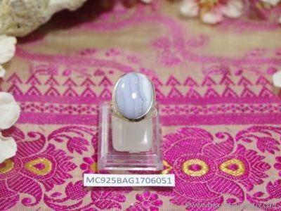 Bague Calcédoine forme cabochon en argent 925° - Orfèvrerie Inde