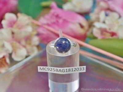 Bague Lapis Lazuli forme cabochon en argent 925°- Orfèvrerie Inde