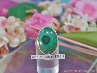 Bague Malachite forme cabochon en argent 925° - Orfèvrerie Inde