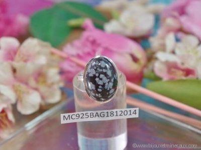 Bague Obsidienne Neige Cabochon en argent 925°
