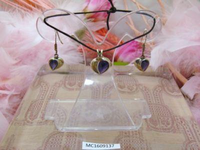 Parure pendentif et boucles d'oreilles en argent 925° Iolite facettée - Orfèvrerie Inde