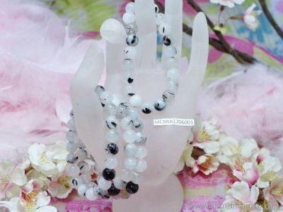 Bracelet Cristal de Roche inclusion de tourmaline noire