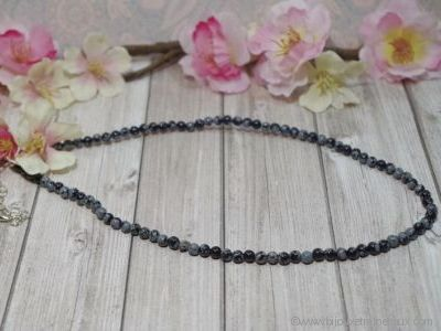 Collier Obsidienne Neige - 45 cm