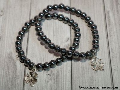 Bracelet Hématite Porte Bonheur