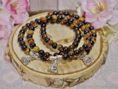 Bracelet Litho - Bracelet Double Protection avec Bouddha Rieur - Porte bonheur