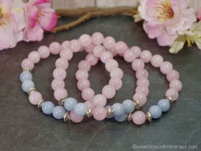 Bracelet Quartz Rose avec Angélite