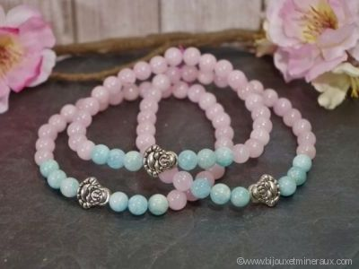Bracelet Quartz Rose avec Amazonite et Bouddha Rieur