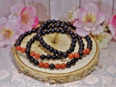 Bracelet Homme Tourmaline Noire et Jaspe Rouge