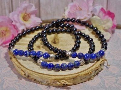 Bracelet Homme Tourmaline Noire et Lapis Lazuli