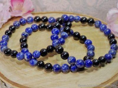 Bracelet Homme Lapis lazuli et Tourmaline noire