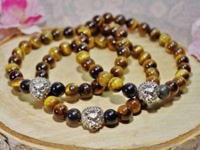 Bracelet Homme Oeil du Tigre et Obsidienne Oeil Céleste