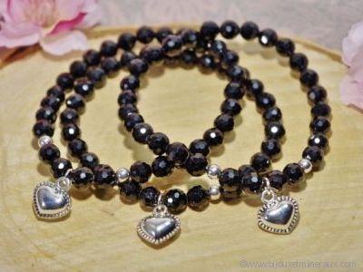 Bracelet Tourmaline Noire Coeur