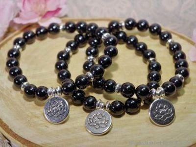 Bracelet Tourmaline Noire Fleur de Lotus