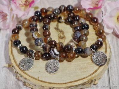 Bracelet Agate Naturelle Arbre de Vie