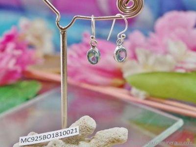 Boucles d'oreilles Topaze bleue en argent 925° Forme facettée - Orfèvrerie Inde