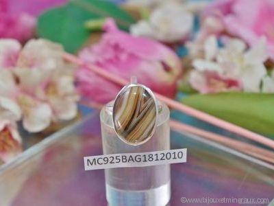 Bague Agate forme cabochon en argent 925°- Orfèvrerie Inde