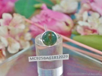 Bague Agate Mousse forme cabochon en argent 925°- Orfèvrerie Inde