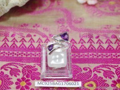 Bague Améthyste facettée en argent 925° - Orfèvrerie Inde