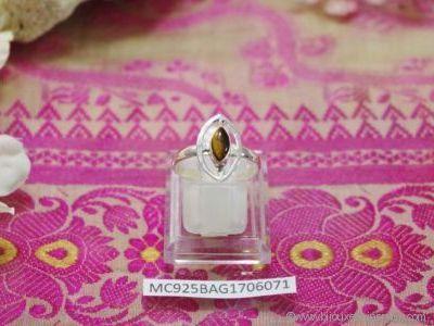 Bague Œil du Tigre forme cabochon en argent 925° - Orfèvrerie Inde