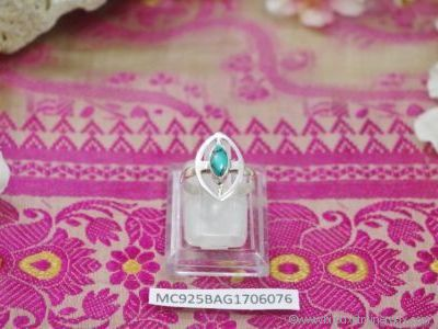 Bague Turquoise forme cabochon en argent 925° - Orfèvrerie Inde