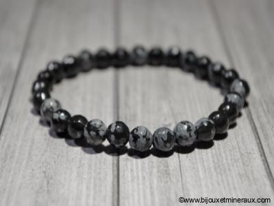 Bracelet Obsidienne Flocons de Neige