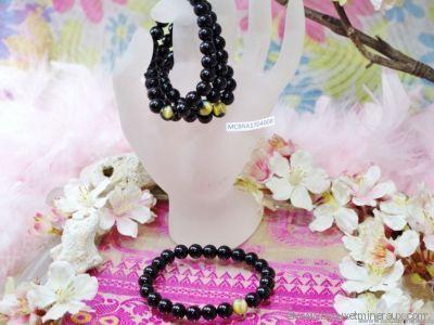 Bracelet Spinelle Noire et Œil du Tigre Blanc