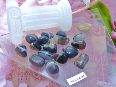 Galets d'Agate Noire zonée - De 4 à 7 gr environ