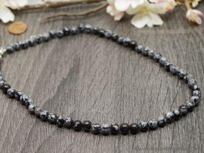 Collier Obsidienne Neige - 45 cm
