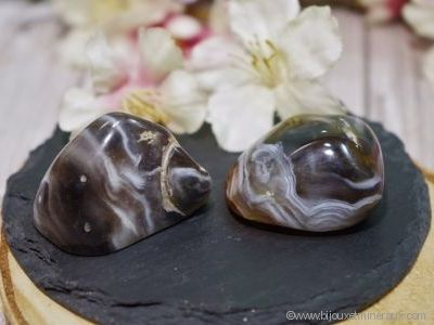 2 Galets Agate Plume