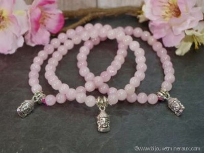 Bracelet Quartz Rose avec Bouddha Méditation