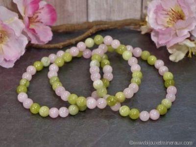 Bracelet Quartz Rose avec Jade