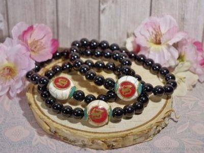 Bracelet Homme Tourmaline Noire avec Perle Népalaise