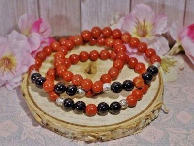 Bracelet Homme Jaspe Rouge et Tourmaline Noire