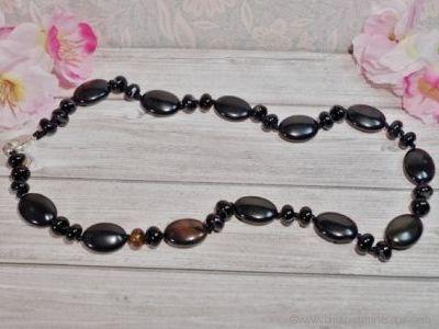 Collier Agate Noire - 45 cm
