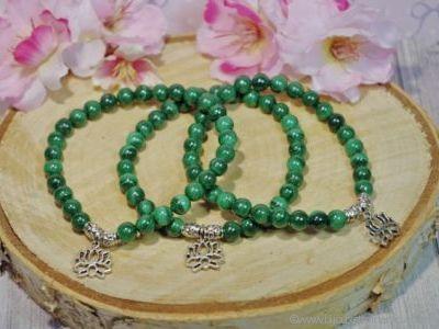 Bracelet Malachite Véritable Fleur de Lotus
