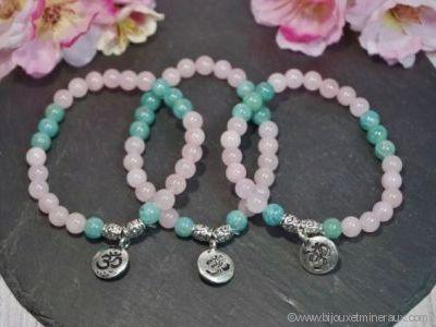 Bracelet Quartz Rose avec Amazonite et OM