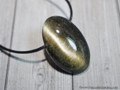Pendentif Obsidienne Dorée